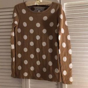 Old Navy Tan/White Polka Dot Sweater Size S